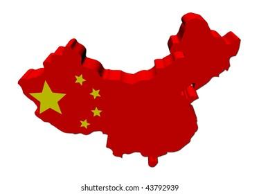 China map flag 3d render on white illustration