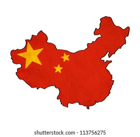 China map on China flag drawing ,grunge and retro flag series