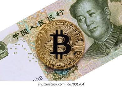 China money bill yuan  with bitcoin.