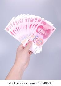 China money RMB100  1500 yuan in hand