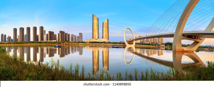 China Nanjing city skyline and modern buildings, twilight landscape.