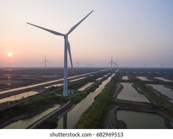 China Nantong coastal wind farms, large area of wind turbines