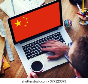 China National Flag Business Communication Connection Concept