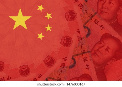 China national flag overlaid with Yuan renminbi banknotes. Chinese money and political situation. Concept of Chinese financial and business markets changes
