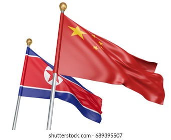 China and North Korea flags flying together for important diplomatic talks, 3D rendering