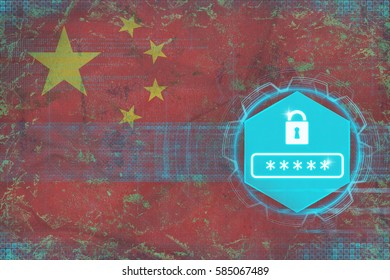 China password protection. Internet protection concept.