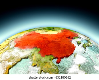 China in red on model of planet Earth as seen from orbit. 3D illustration with detailed planet surface. Elements of this image furnished by NASA.