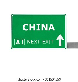 CHINA road sign isolated on white