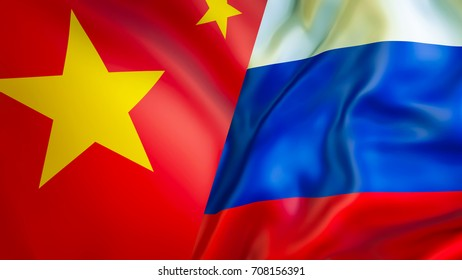 China and Russia flags. 3D Waving flag design. China Russia flag, pictures, wallpaper, image. China Russia, relations alliance trade and military concept