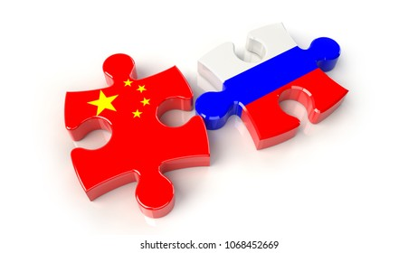 China and Russia flags on puzzle pieces. Political relationship concept. 3D rendering