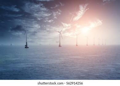 China 's coastal sea wind generators, blue tones