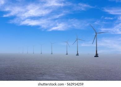 China 's coastal sea wind generators, blue tones