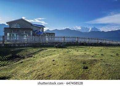 China 's Tibet Jilong ditch is the village landscape