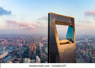 CHINA, SHANGHAI - AUGUST 4, 2018. View To Shanghai World Financial Center And Low Rise And Huangpu River on Background. Window Of Shanghai Skyline And Opener.