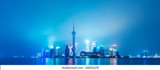 China Shanghai Bund, Lujiazui financial district panorama.