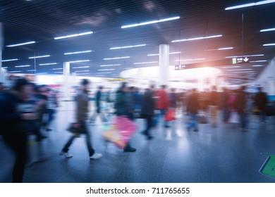 China Shanghai, the city subway station crowd, fuzzy image