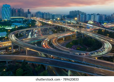 China Shanghai, evening viaduct car light trails