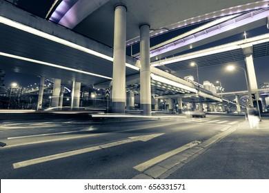 China Shanghai, night road overpass