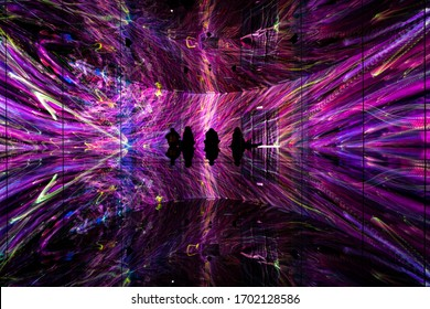 China, Shanghai - November 22, 2019: Exhibition room at Epson TeamLab Borderless, Huangpu District.
