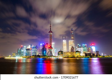 China, Shanghai - October 19, 2019: View from The Bund of The Oriental Pearl Tower, Jin Mao Tower, Shanghai World Financial Center, Shanghai Tower and the Lujiazui Finance and Trade Zone, at night