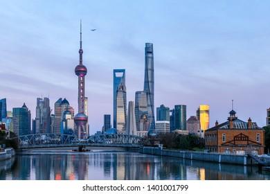 China, Shanghai sunset city skyline