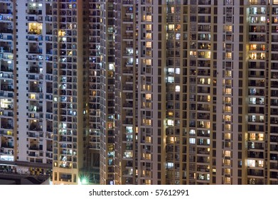 CHINA, SHENZHEN - MAY 1: overpopulated city by night, thousands of residential houses, cityscape on MAY 1, 2010 in Shenzhen.