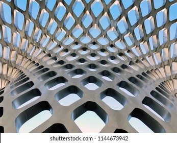 CHINA, SHENZHEN - MAY 19, 2018. Shenzhen Bay Sports Center. Double Curved Parametric Modern Architecture of Canopy. Wall Turns To The Roof.