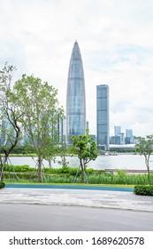 China Shenzhen Talent Park Landscape and Houhai CBD Building Skyline