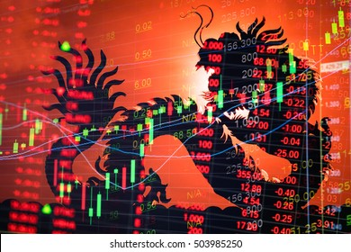 China stock exchange market trading chart. Dragon background means Chinese economy growth.