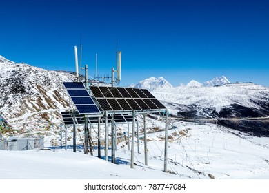 China Tibet, solar energy on snow-capped mountains