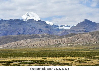 China, Tibet. South face of mount Kailash (Kailas) in the summer in cloudy day from the side of plateau of Bark