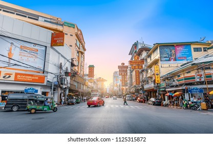 CHINA TOWN, BANGKOK THAILAND- 12 MAY 2018: Sunset at Yaowarat road, China town or Yaowarat is one of the famous landmark of chinese Arts and Buildings in Bangkok