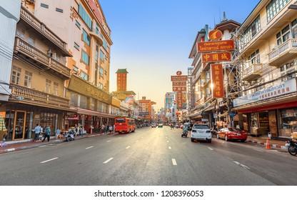 CHINA TOWN, BANGKOK THAILAND - 12 MAY 2018: Traffic at Yaowarat road, Yaowarat is one of the famous landmark of Chinese Culture Arts and Buildings in Bangkok