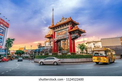 CHINA TOWN, BANGKOK, THAILAND - MAY 12, 2018 - Odeon Circle The Arch Gateway to Bangkok China Town or Yaowarat The circus has a history with Yaowarat Road. China Town in Bangkok, Thailand