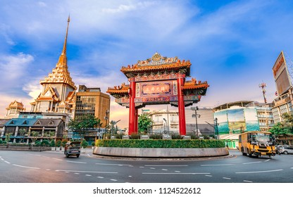 CHINA TOWN, BANGKOK, THAILAND - MAY 12, 2018 - Odeon Circle The Arch Gateway to Bangkok China Town or Yaowarat The circus has a history with Yaowarat Road. China Town in Bangkok, Thailand