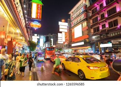 China Town called Yaowarat in rush hour night and long exposure light, Bangkok Thailand.