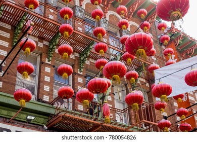 CHINA TOWN, SAN FRANCISCO, CA - SEPTEMBER 9, 2017: San Francisco's Chinatown is the oldest one in North America. This neighbourhood is one of the most popular attractions in the city