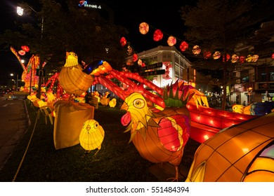 China Town, Singapore - January 08, 2017 : Chicken decoration on street during Chinese New Year at China town, Singapore