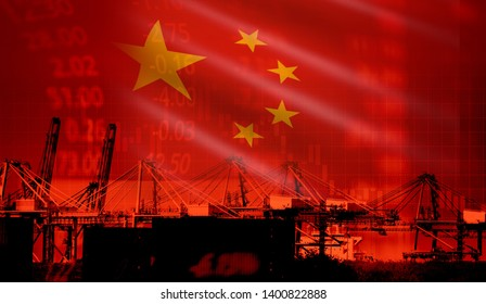 China trade war economy conflict tax business finance / China stock market exchange graph chart money crisis raised taxes on industry container ship in export import logistics