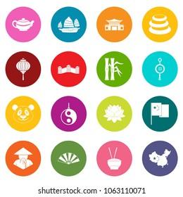 China travel symbols icons many colors set isolated on white for digital marketing
