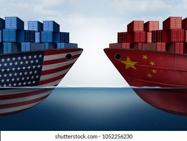 China United States trade and American tariffs as two opposing cargo ships as an economic  taxation dispute over import and exports concept as a 3D illustration.