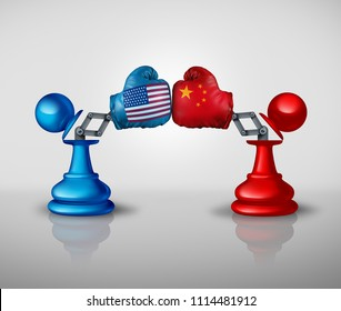 China United States Trade War Strategy and American tariffs conflict with two chess pawns trading fight as an economic import and exports dispute concept with 3D illustration elements
