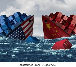 China United States trade war risk and American tariffs or Chinese tariff as two sinking cargo ships as an economic  taxation dispute over import and exports with 3D illustration elements.