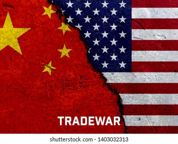 China and US flag on the crack cement concrete. TradeWar and economic Conflicts within China and America State