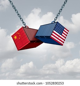 China USA trade war and American tariffs as two opposing cargo freight containers in conflict as an economic dispute over import and exports concept as a 3D illustration.