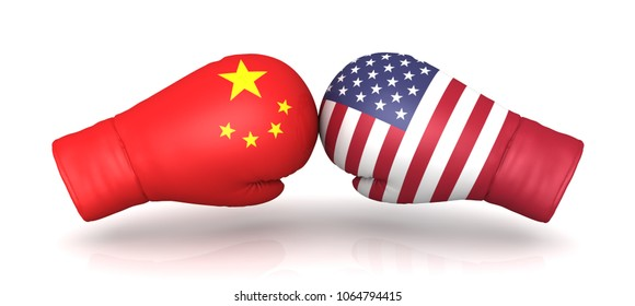 china usa trade war tax entrance import duty 3d boxing gloves rendering levy tariff increase conflict crisis political military warfare conflict isolated sign symbol icon template on white background