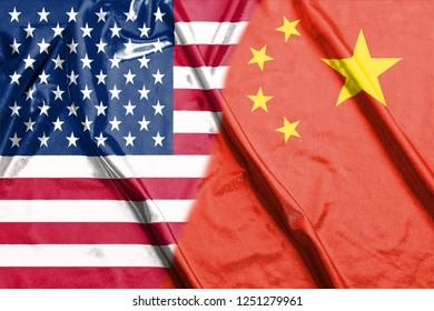 China and Usa Two Half Flags Together closeup