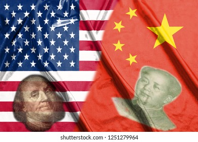 China and Usa Two Half Flags Together with faces of Benjamin Franklin and Mao Zedong