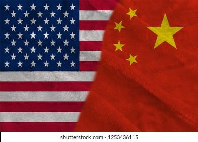 China and Usa Two Half Flags Together