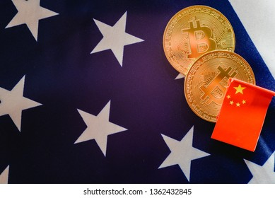 China uses bitcoins to win trade war to the United States, Chinese and American flags together.